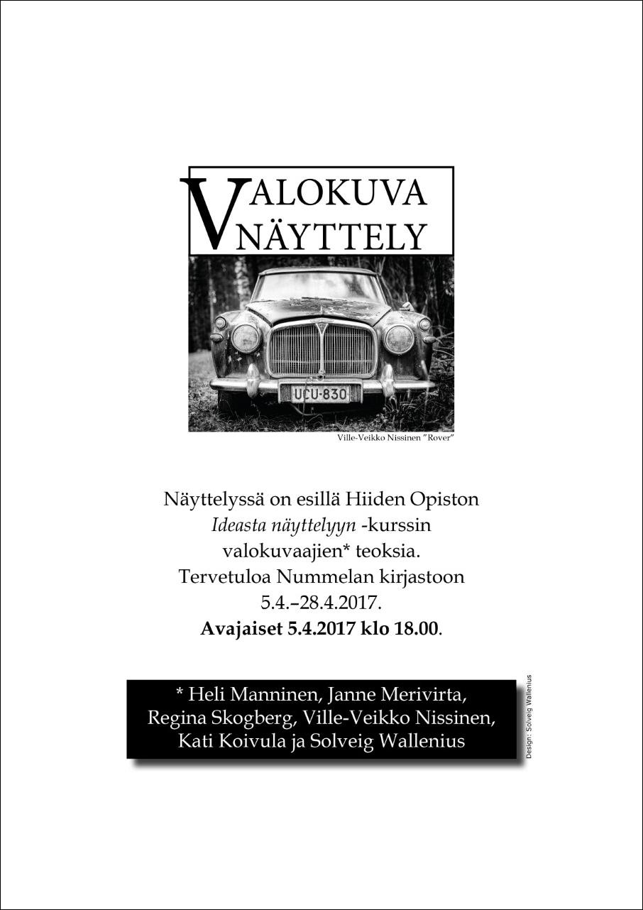 ideasta-näyttelyyn-valokuvanäyttely-Nummelan kirjasto